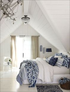 blue and white decor | Adding blue and white colors and patterns to a living room, bath or ...