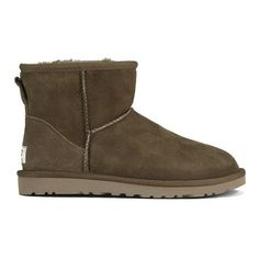 UGG Australia Women's Classic Mini Sheepskin Boots - Dry Leaf ($200) ❤ liked on Polyvore featuring shoes, boots, ankle booties, ankle boots, brown, brown booties, brown bootie, flat booties and flat ankle booties
