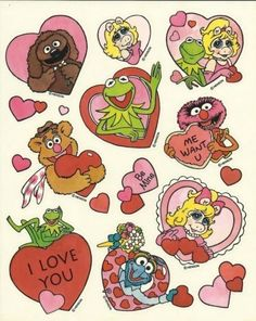 The Muppets Valentine's Day Heart Stickers Photo Wall Collage, Picture Wall, Collage Art, Room Posters, Poster Wall, Anime Disney, American Retro, Indie Kids, Vintage Cartoon