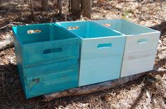 Shades of Turquois Wood Crates from Recycled Pallet.  These are open-topped, and a pretty color.  $170 is not cheap, but it's a nice idea.