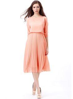 Pink Organ Pleated Chiffon Dress