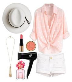 """Just Peachy"" by kcooperwildman ❤ liked on Polyvore featuring Calypso Private Label, Miriam Haskell, T3, Milani, Marc Jacobs and Bobbi Brown Cosmetics"