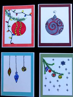 Christmas Cards 4 pack ornaments greeting by MitchiesGalleria
