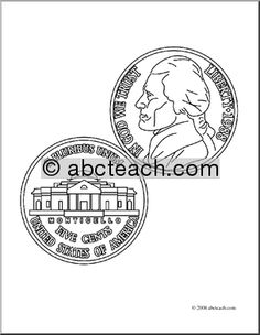 clip art nickel coloring page preview 1