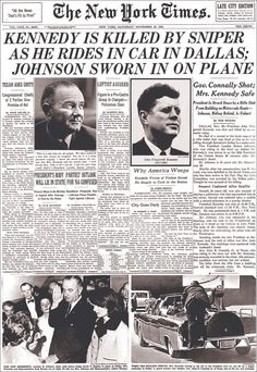 New York Times, November Kennedy is Killed by Sniper Giclee Print Us History, History Facts, American History, Newspaper Headlines, Old Newspaper, New Times, New York Times, Kennedy Assassination, Jackie Kennedy