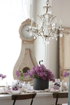 chandelier, mason jars and lilacs.