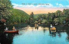 Kerrville Texas TX 1940s Camp La Junta Guadalupe River Canoes Vintage Postcard…