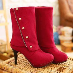 Trendy Rivet and Flock Design Women's Mid-Calf Boots
