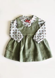 Linen Pinafore Dress Girls Apron Dress Sage Green Linen   Etsy