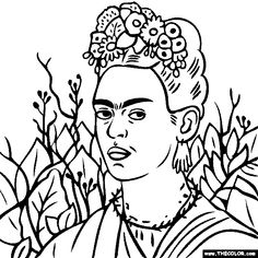 100% free coloring page of Frida Kahlo painting - Self Portrait with Thorn Necklace. You be the master painter! Color this famous painting and many more! You can save your colored pictures, print them and send them to family and friends!