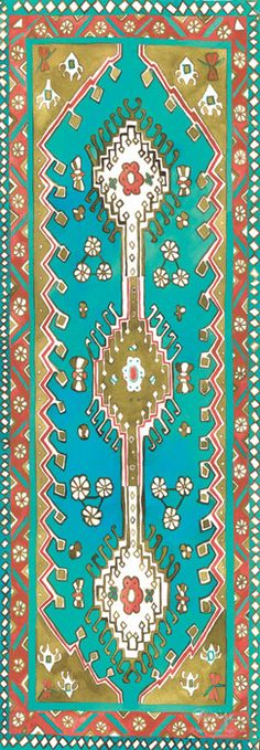 Turquoise Traditional Magic Carpet Yoga Mat $98