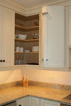 8 delightful upper corner cabinet solutions images kitchen rh pinterest com upper corner kitchen cabinet sizes corner upper kitchen cabinets dimensions