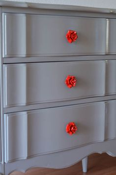 UP-styled Furniture French Dresser Makeover. Rosette drawer pulls (from Pier One Imports, painted red). Refurbished Furniture, Paint Furniture, Upcycled Furniture, Furniture Projects, Furniture Making, Furniture Makeover, Home Projects, French Dresser, Gray Dresser