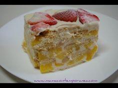 Receta: Torta Fría de Melocotón o Pastel Frío de Duraznos - YouTube
