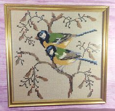 Birds in Tree Completed Needlepoint Framed Vintage Gold Square Frame 13 Inches Rose Frame, Flower Frame, Types Of Embroidery, Christmas Settings, Hero Arts, Vintage Sewing, Needlepoint, Picture Frames, Cross Stitch