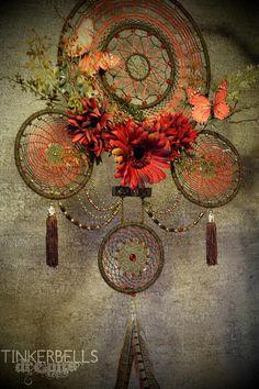 Dreamcatcher groß aufwendig edel Geschenk Schmetterling rot