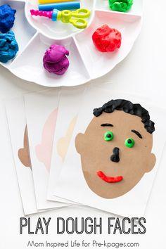 Making Faces Play Dough Activity- Making Faces Play Dough Activity Play Dough Faces Activity for preschool More - Body Preschool, Preschool Lessons, Preschool Learning, In Kindergarten, Preschool Crafts, Body Parts Preschool Activities, Preschool Family Theme, Emotions Activities, Playdough Activities