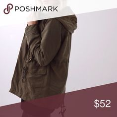 Soho Utility Jacket   Olive ❕LAST❕ ◽️️️️The Soho Utility Jacket is an essential for Fall! Made of amazingly soft material, has an adjustable drawstring waist and hood, roomy front pockets. Lined. Poly/nylon. New with tag. Perfect for layering with all your cool weather outfits. Also for sale in black. 🌟I cannot recommend this jacket enough!🌟  ▫️Sizes available: M and L - LAST ONES!! (S sold out) ▫️I am modeling size S ▫️Price is firm 📷 Photos are my own Jackets & Coats Utility Jackets
