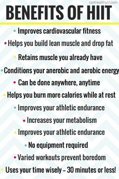 Benefits of HIIT with a poster listing all of its benefits