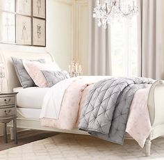 Pink U0026 Grey   Want Petal Pink Walls U0026 Grey Curtains U0026 A New Pic Over Bed!  Love The Idea For A Spare Bedroom In The New House.