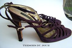 Guy Laroche Designer Purple Suede High-Heeled Shoes Size 9 Evening Shoes #GuyLarocheShoes