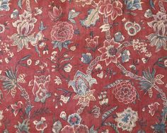 Fabric c1750-70 (Coromandel Coast, India (fabric, made) Close-up of fabric on a man's banyan made in Netherlands (possibly, tailored) or Fabric is cotton chintz painted and dyed. Accession Number T.215-1992