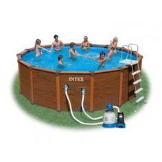 Intex Wood-Grain Frame Pool 569x135cm + sandfilter-pumpe Art. 28392 Mode- 2014  Pool Leiter enthalten Beinhaltet eine Bodenplane  Enthält ein Abdeckung.  2 x 38mm Schlauchverbindung mit Überwurfmutter 2 x Absperrschieber mit Siebaufsatz