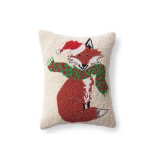 Grandin Road Christmas Fox Winter Wonderland Pillow ($32) ❤ liked on Polyvore featuring home, home decor, fox home decor, christmas home decor and grandin road