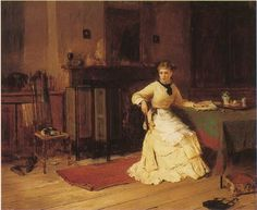 Interrupted. Harry Brooker (English, 1848-1940). Oil on canvas.  Brooker's paintings of interior scenes reveal the warmth and humour of Victorian domestic life, and he is particularly known for his...