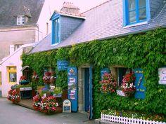 Flower Shop, Concarneau, France photo via extremely Wonderful Places, Beautiful Places, Region Bretagne, Brittany France, Pubs And Restaurants, Visit France, France Photos, Unique Gardens, Flowering Vines