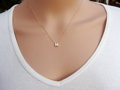 100 Gold filled Initial Necklace Personalized Initial by AlinMay