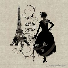 French Eiffle Tower Silhouette | INSTANT DOWNLOAD Woman Silhouette Eiffel Tower Paris Digital Image No ...