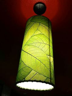 Decoupage leaves (fake or real) onto lampshade.