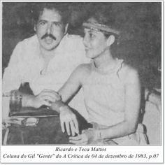 """Ricardo e Teca Mattos. Coluna do Gil """"Gente"""" do A Crítica de 04 de dezembro de 1983."""