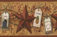 Floral and Faux Country Border - from Folk Heart II book Primitive Wallpaper, Decoupage, Folk, Sweet Home, Printables, Display, Country, Antiques, Wallpaper Borders