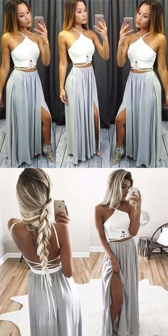 two piece prom dresses,summer dresses,grey prom dresses,sexy prom dresses