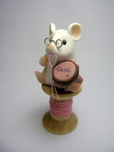 Polymer Clay Mouse, sewing by QuernusCrafts, via Flickr