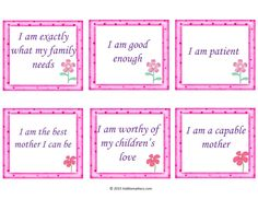 30 Free Positive Affirmation Cards for Mothers because you are awesome! Affirmation Karten, Affirmation Cards, Attachment Parenting Quotes, Planner Free, Low Self Confidence, I Am Worthy, Miracle Morning, Gentle Parenting, Going Back To School