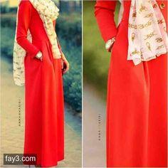 فستان احمر طويل - صور ملابس #محجبات #فساتين