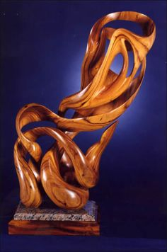 """Abstract, (36"""" x 24"""" x 24"""")  Ear Pod Wood  Abstract Figure Interaction"""