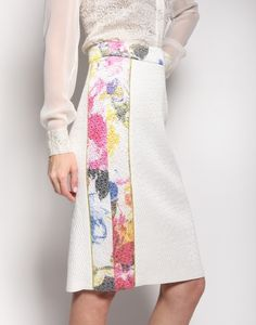 Skirt with Floral Brocade Paneling / Christian Siriano