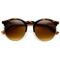 9e50ebd39f zeroUV Womens Oversized Half Frame Keyhole Round Sunglasses Tortoise Amber  -- Find out more about