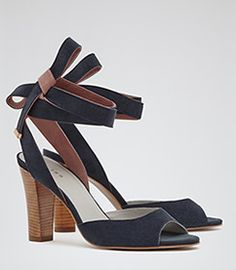 Colline Navy Wrap Around Tie Sandals - REISS