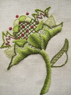 Margaret Dier Embroidery. Crewel work embroidery. Stitched in Appleton wools on traditional linen twill.