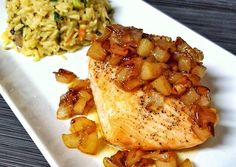 Salmon with Caramelized Pears and Onions Recipe -  Very Tasty Food. Let's make it!