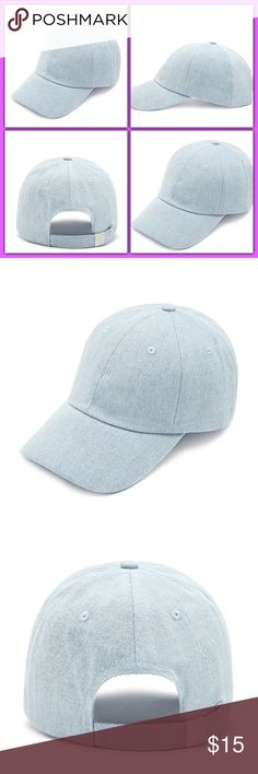 "🎀 🏝TRENDY!!!!DENIM BASEBALL CAP🎀☀️ Brand New!!!! Spring break must have!!!! A denim baseball cap featuring an adjustable back with high-polish accents. Content + Care  - 100% cotton - Hand wash cold - Made in China Size + Fit  - Circumference: 21"" - Brim: 2.75"" Accessories Hats"
