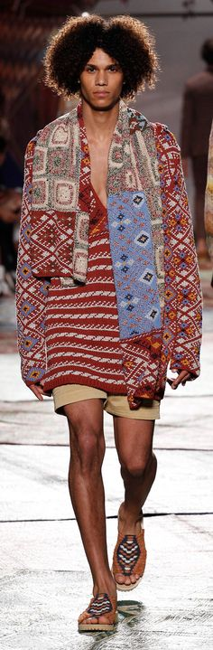 Missoni - Spring 2015 ethnic , boho gypsy chic using aztec and fairisle mix of folk art knitted pattern to create this asymmetric freeform knitted couture fashion jumper, jacket