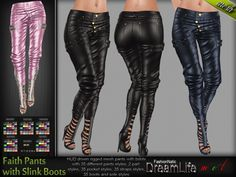 MESH Faith Leather Pants with Slink Boots high Feet * Rigged (HUD Driven)  *DreamLife*