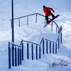 The Helgasons present Pepping! Gulli Gudmunsson killin the curvy kink rail. PHOTO Frode Sandbech | TransWorld SNOWboarding