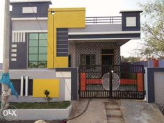 elevations of independent houses House Front Wall Design, Single Floor House Design, Village House Design, Duplex House Plans, Simple House Design, Bungalow House Design, Modern House Design, Front Design, House Elevation